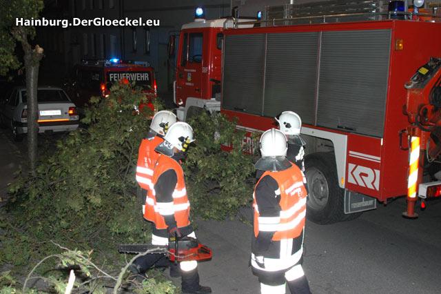 """Nachdem der Personenkraftwagen aus der Gefahrenzone verbracht wurde, machte sich die Wehr an die """"Kleinarbeit"""""""