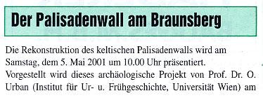 Faksimile aus den Stadtnachrichten aus dem Jahr 2001