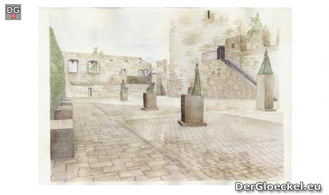 So soll sich der Platz vor dem HALTERTURM, Bestandteil der Befestigungs- und Wehranlage von Hainburg/D. der Öffentlichkeit nach den Arbeiten präsentieren