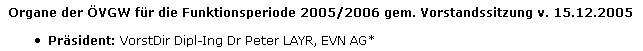 Faksimile aus der Website der ÖVGW mit dessen Präsidenten Dr. Peter Layr - Vorstandsdirektor der EVN AG
