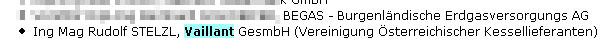 Faksimile aus der Website der ÖVGW unter Ausweisung des Vorstandsmitglieds, dem Geschäftsführer der Vaillant Austria GmbH, Mag. Rudolf Stelzl