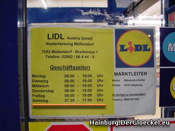 Umbauarbeiten nach Geschäftsschluß im LIDL am Samstag um 17:00 Uhr wurden ins Treffen geführt