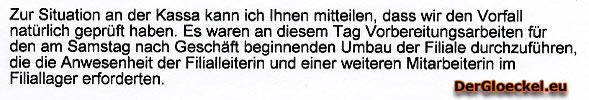 Faksimile aus der Stellungnahme von Herrn Schiller der LIDL Austria GmbH
