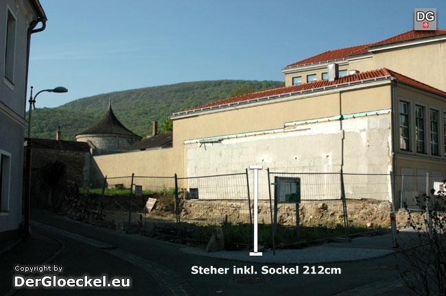 Die Länge dieses Stehers zogen wir für die Höhenberechnung heran. Standort der geplanten Kirche: Ecke Alte Poststraße - Leyrergasse