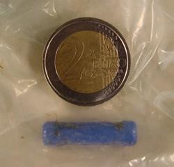 Der abgegangene Fremdkörper mit Größenvergleich einer 2.- Euromünze