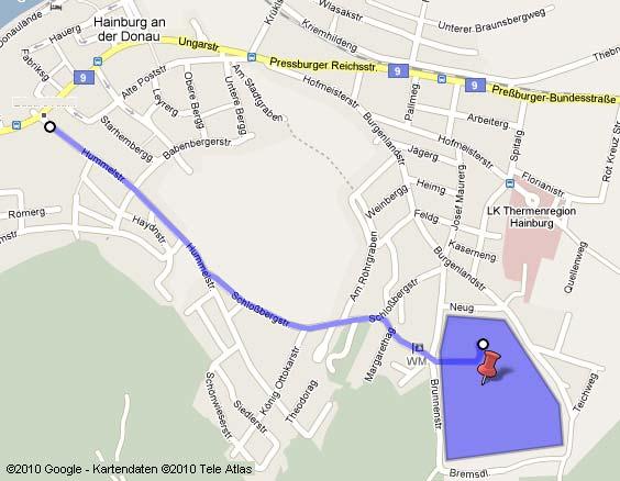 Fahrstrecke Hummelstrasse zum Baustellenbereich