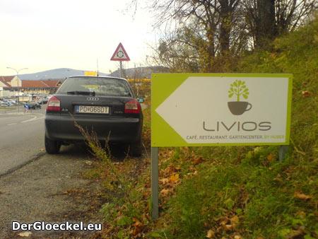 nächstes Beispiel: Schilder (1 von 3) gegenüber der Einfahrt zum LIVIOS an der alten B9