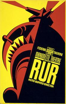 R.U.R. - Aufführungsplakat aus den 1930er Jahren