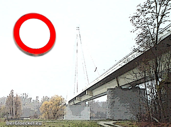Sperre der Donaubrücke bei Hainburg am 6.5.2012 | Graphik: DerGloeckel.eu
